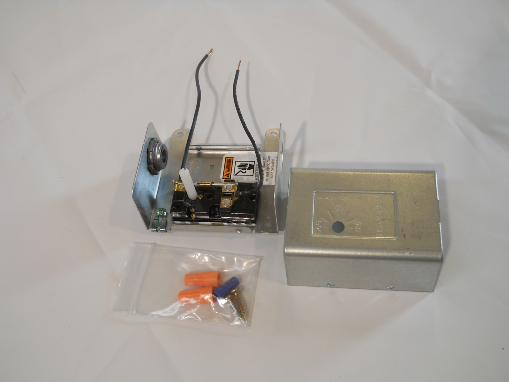 The safer thermostat has an enclosure with temperature settings stamped into cover, screws, wire nuts, ground clip and one connector